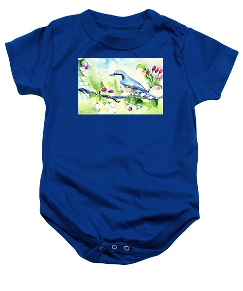 Little Blue Spring Bird Baby Onesie