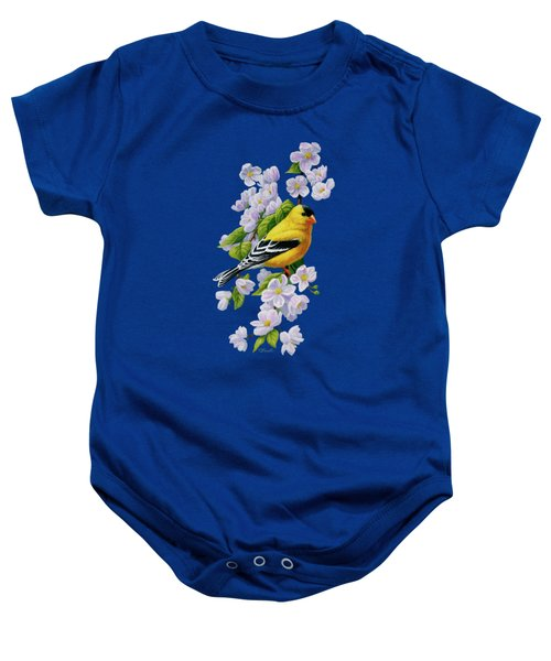 Male American Goldfinch And Apple Blossoms Baby Onesie