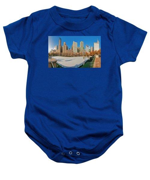 Mccormick Tribune Plaza Ice Rink And Skyline   Baby Onesie