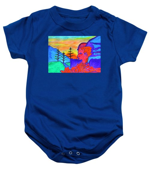 Mystical Rock With A Profile At Sunrise Baby Onesie