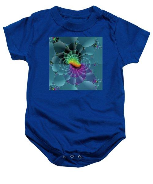 Slate Blue Fractal Baby Onesie
