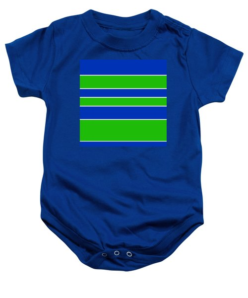 Stacked - Navy, White, And Lime Green Baby Onesie