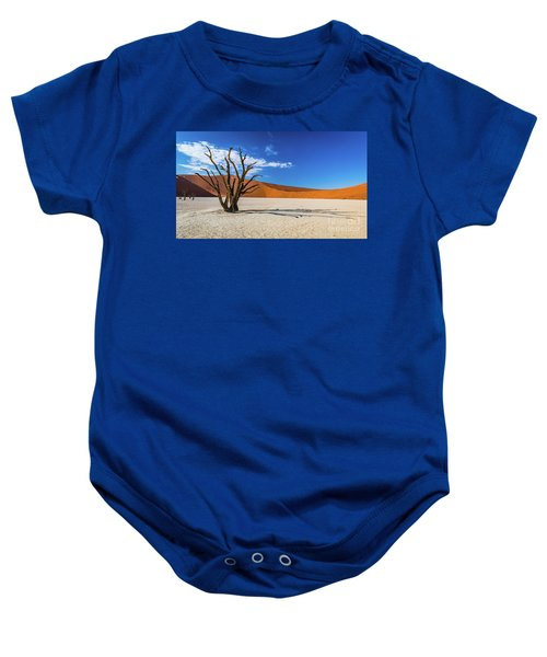 Tree And Shadow In Deadvlei, Namibia Baby Onesie