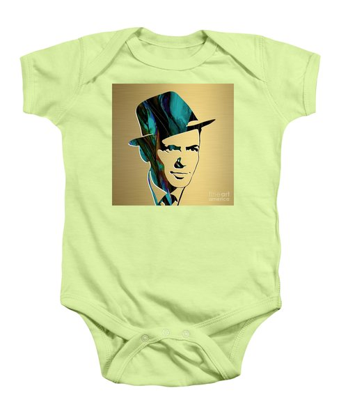 Baby Onesie featuring the mixed media Frank Sinatra Gold Series by Marvin Blaine