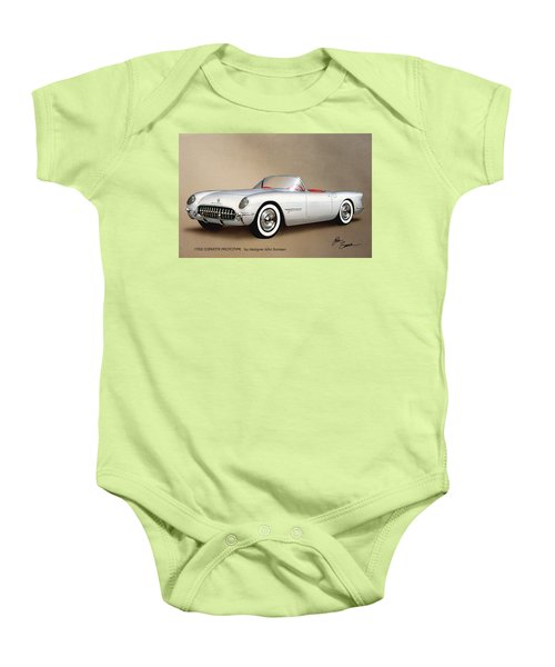 1953 Corvette Classic Vintage Sports Car Automotive Art Baby Onesie by John Samsen