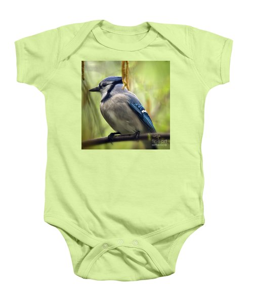 Blue Jay On A Misty Spring Day - Square Format Baby Onesie by Lois Bryan