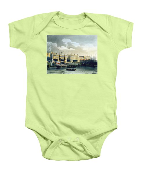 Custom House From The River Thames Baby Onesie by T. & Pugin, A.C. Rowlandson