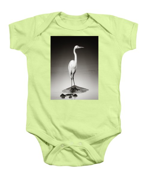 Great White Egret On Hippo Baby Onesie by Johan Swanepoel