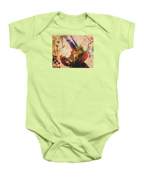 Jimmy Page - Led Zeppelin Baby Onesie by Ryan Rock Artist