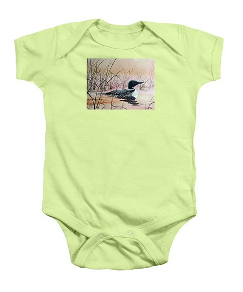 Loon Sunset Baby Onesie by James Williamson