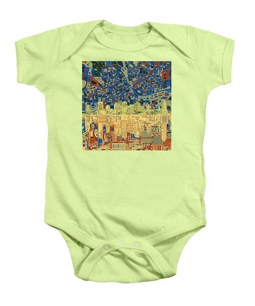 Nashville Skyline Abstract 9 Baby Onesie by Bekim Art