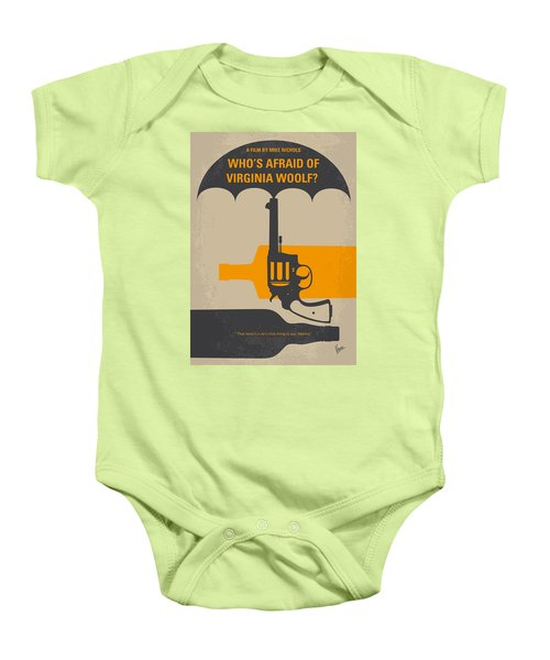 No426 My Whos Afraid Of Virginia Woolf Minimal Movie Poster Baby Onesie by Chungkong Art