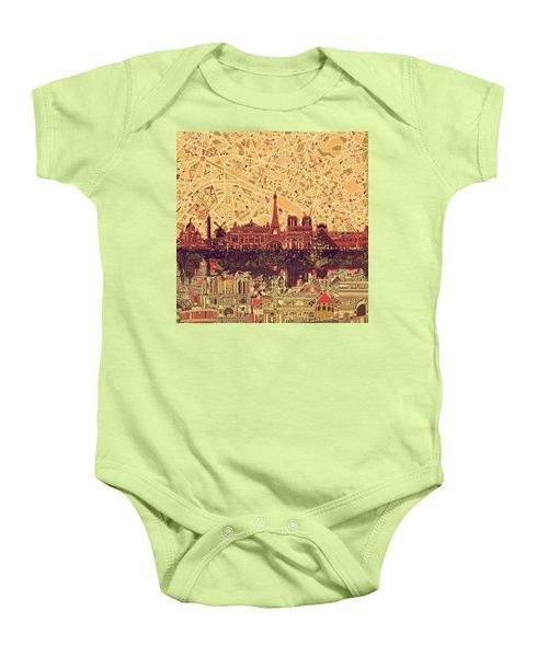 Paris Skyline Abstract Sepia Baby Onesie