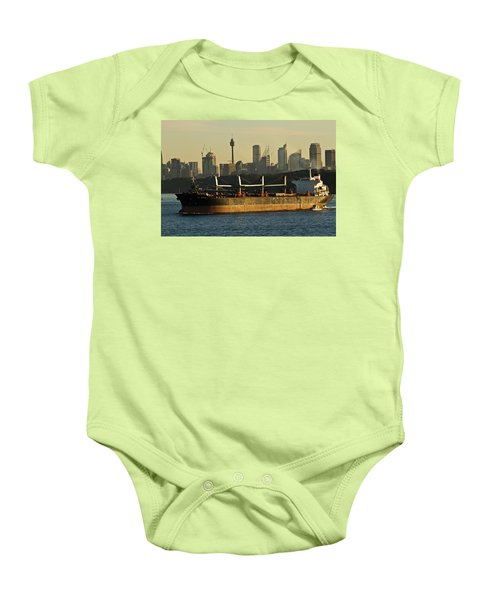Baby Onesie featuring the photograph Passing Sydney In The Sunset by Miroslava Jurcik