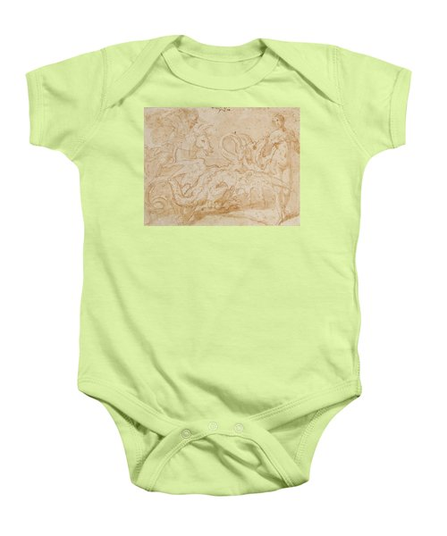 Perseus Rescuing Andromeda Red Chalk On Paper Baby Onesie by or Zuccaro, Federico Zuccari