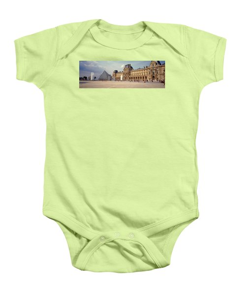 Tourists Near A Pyramid, Louvre Baby Onesie by Panoramic Images
