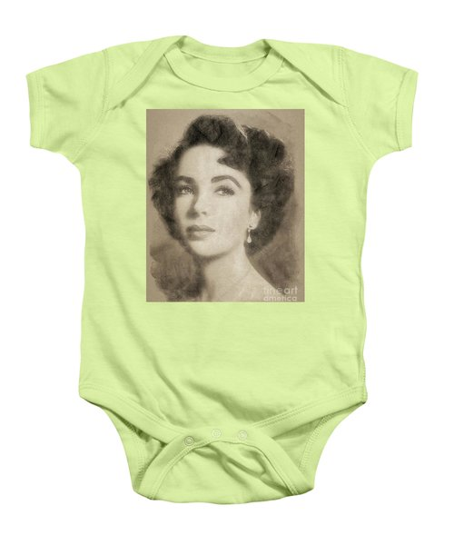 Elizabeth Taylor Hollywood Actress Baby Onesie by John Springfield