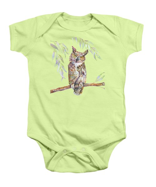 Great Horned Owl  Baby Onesie by Amy Kirkpatrick