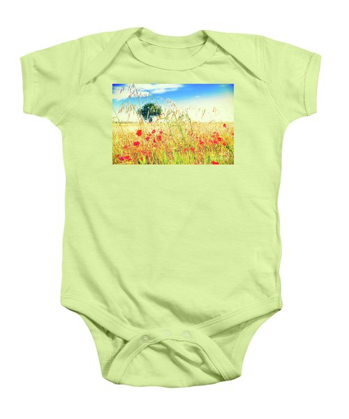 Baby Onesie featuring the photograph Poppies With Tree In The Distance by Silvia Ganora