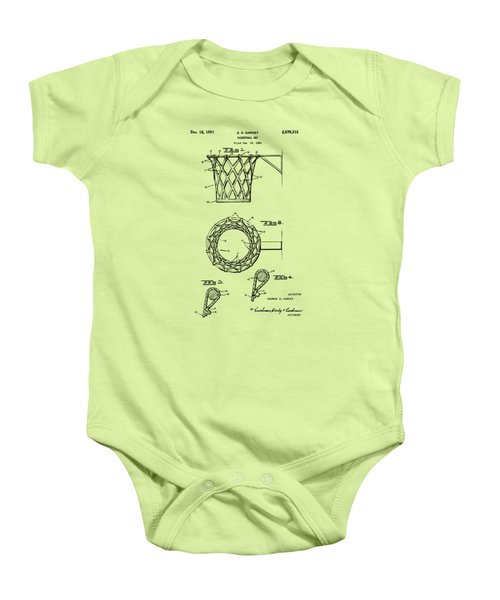 1951 Basketball Net Patent Artwork - Vintage Baby Onesie by Nikki Marie Smith