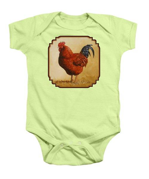 Rhode Island Red Rooster Baby Onesie