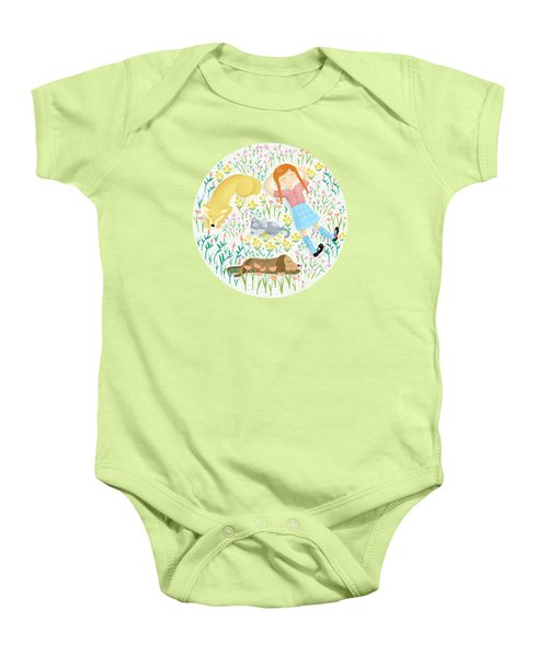 Summer Afternoon With Dogs, Cats And Clouds Baby Onesie