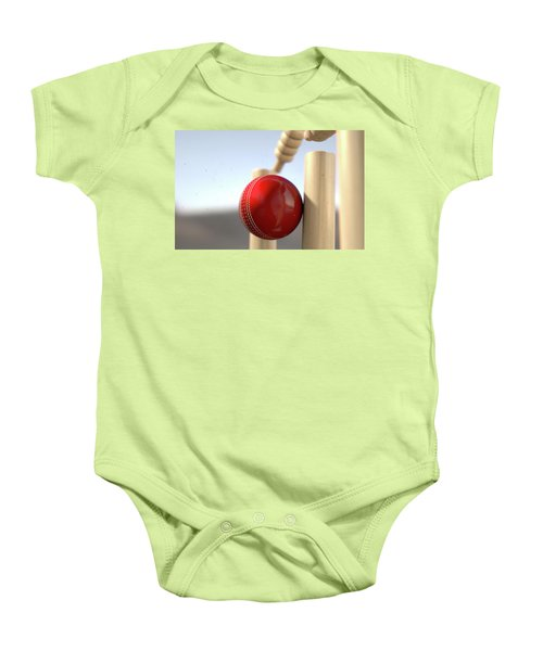 Cricket Ball Hitting Wickets Baby Onesie by Allan Swart