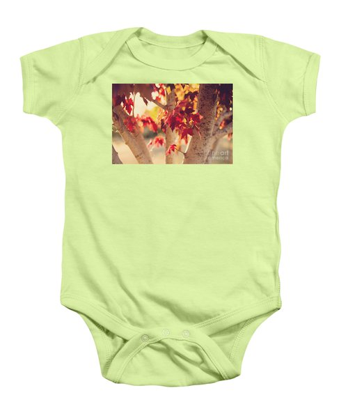 Baby Onesie featuring the photograph A Warm Red Autumn by Linda Lees