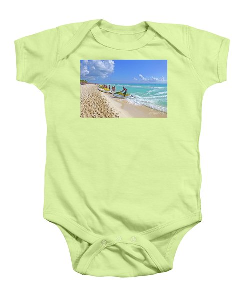 Baby Onesie featuring the digital art Active Beach M3 by Francesca Mackenney