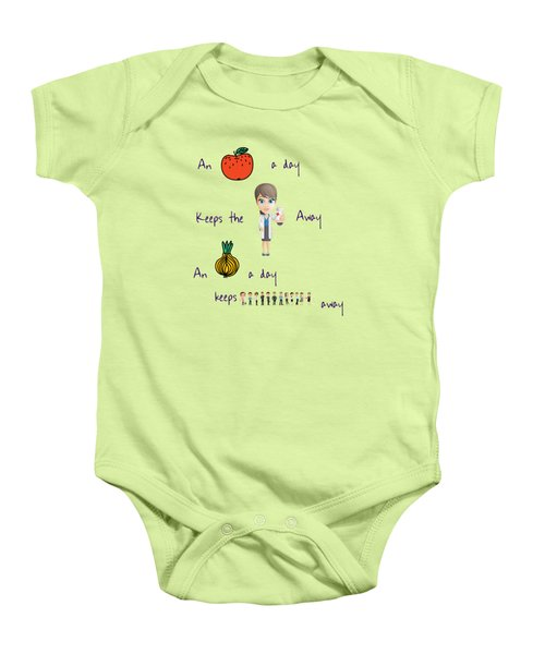 An Apple A Day Baby Onesie by Humorous Quotes