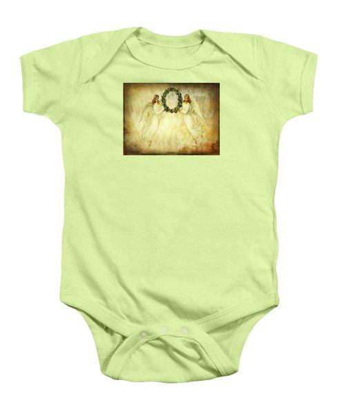 Angels Christmas Card Or Print Baby Onesie by Bellesouth Studio