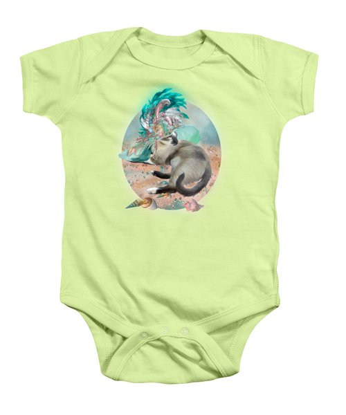 Cat In Summer Beach Hat Baby Onesie by Carol Cavalaris