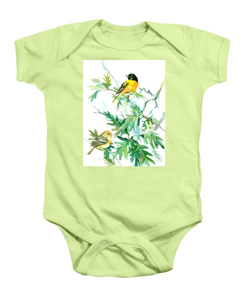 Baltimore Orioles And Oak Tree Baby Onesie by Suren Nersisyan