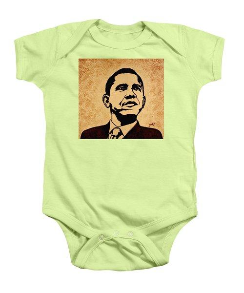 Barack Obama Original Coffee Painting Baby Onesie by Georgeta  Blanaru