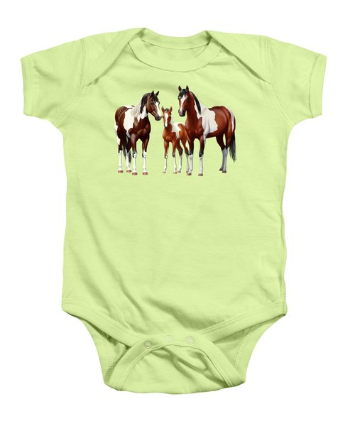 Bay Paint Horses In Winter Baby Onesie