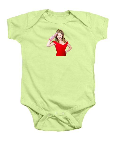 Baby Onesie featuring the photograph Blond Pinup Woman Saluting In Cooking Glove by Jorgo Photography - Wall Art Gallery