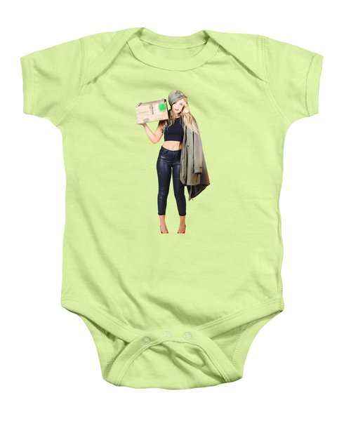 Bombshell Blond Pinup Woman In Dangerous Style Baby Onesie by Jorgo Photography - Wall Art Gallery