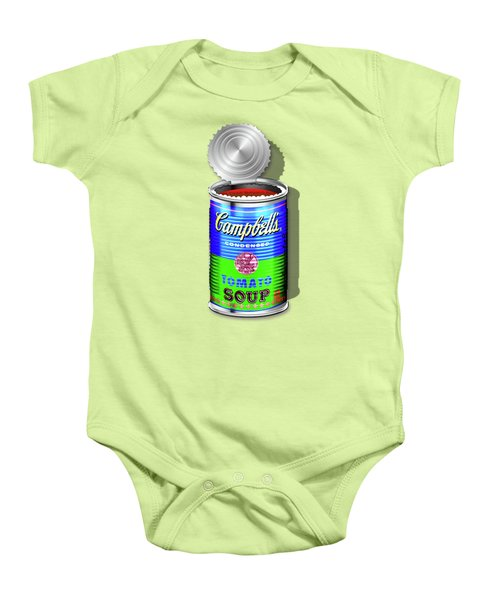 Campbell's Soup Revisited - Blue And Green Baby Onesie by Serge Averbukh