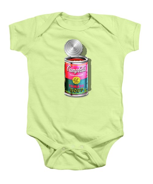 Campbell's Soup Revisited - Pink And Green Baby Onesie by Serge Averbukh
