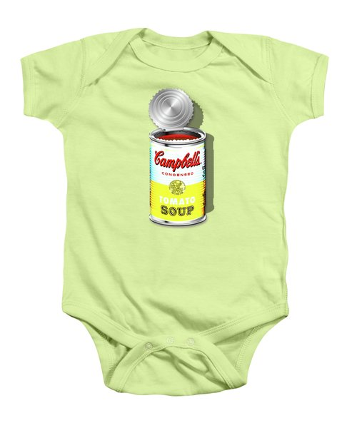 Campbell's Soup Revisited - White And Yellow Baby Onesie by Serge Averbukh