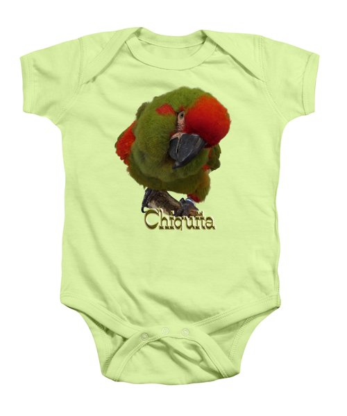 Chiquita, A Red-front Macaw Baby Onesie by Zazu's House Parrot Sanctuary