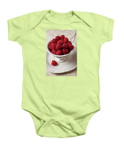 Cup Full Of Raspberries  Baby Onesie by Garry Gay