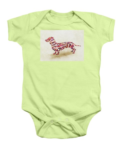 Dachshund / Sausage Dog Watercolor Painting / Typographic Art Baby Onesie
