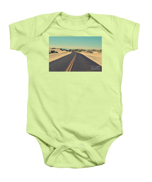 Baby Onesie featuring the photograph Desert Road by MGL Meiklejohn Graphics Licensing