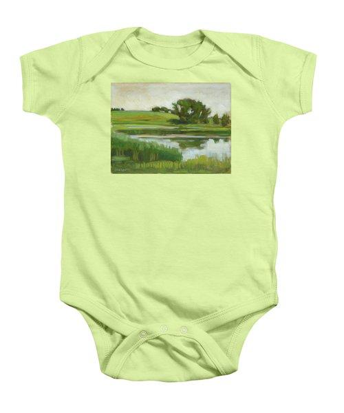Distant Farm Baby Onesie