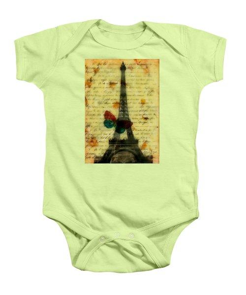 Eiffel Tower Memory Encaustic Baby Onesie by Bellesouth Studio