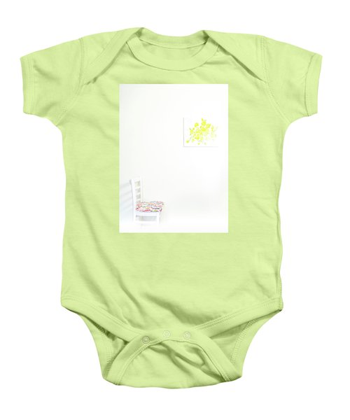Empty Chair With Yellow Roses Baby Onesie