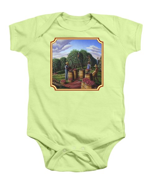 Farm Americana - Autumn Apple Harvest Country Landscape - Square Format Baby Onesie by Walt Curlee