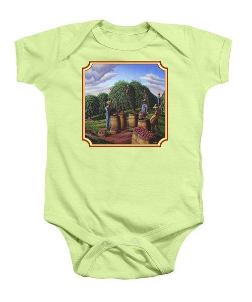 Farm Americana - Autumn Apple Harvest Country Landscape - Square Format Baby Onesie