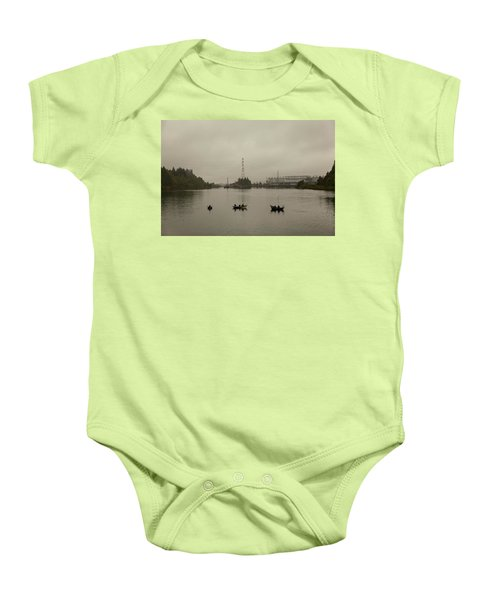 Fishing On Foggy Columbia River Baby Onesie